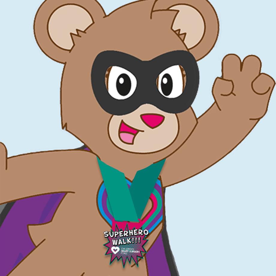 CHSF Katie Bear with a black superhero mask, purple cape and wearing a superhero walk medal